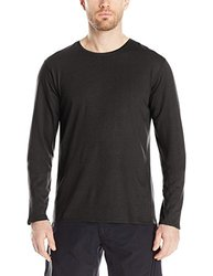 SWRVE Men's Cotton/Modal Long Sleeve Crew Tee, Large, Black