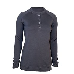 Showers Pass Women's Long Sleeve Bamboo Merino Sport Henley Shirt, X-Large, Grey