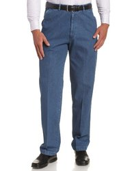 Haggar Men's No Iron Denim Plain Front Pant - Med Stonewash - Size: 34x29