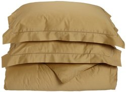 Tuscany Fine Italian Linens Milange 300 Thread Count Egyptian Cotton King Duvet Cover Set, Gold