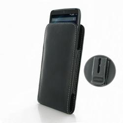Leather Vertical Pouch Belt Clip Case for Motorola Droid Turbo - Black