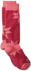 Hot Chillys Youth Alpine Mid Volume Socks, Large, Alpine/Razzle