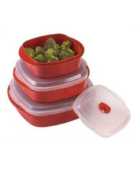 Food Storage Container Set: Red (6-Piece)