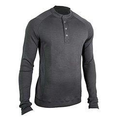 Showers Pass Men's Long Sleeve Bamboo Merino Sport Henley Shirt, Large, Grey