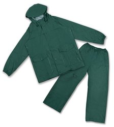 Stansport Men's Deluxe PVC/Nylon Rainsuit with Hood - Green - Size: Small