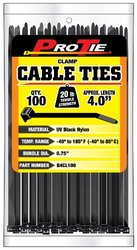 Pro Tie B4CL100 4-Inch  Clamp Cable Tie, UV Black Nylon, 100-Pack