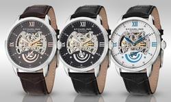 Stuhrling Original Men's Automatic Skeleton Watch - Black Band White Dial