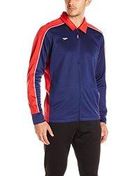 Speedo Men's Streamline Warm Up Jacket, Red/Navy, Large