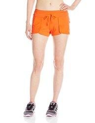 ASICS Women's Studio Flex Shorts, Cherry Tomato, Small