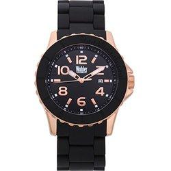 Wohler Wolfgang Men's Silicone Coated Quartz Watch - Black/Rose Gold