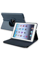 Insten 360-Degree Swivel Leather Stand Case for Apple iPad mini 1/2 - Blue