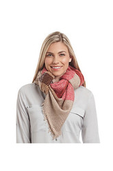 Collection 18 Women's Brushed Tricolor Plaid Scarf - Medium Beige
