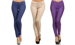 3 Pack Women's 5 Pocket Slimming Jeggings - Blue/Purple/Camel - Size: S/M