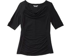 Royal Robbins Women's Essential Tencel Cowl Neck Top-Black-Size: Large