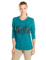 GWG Women's Buck Head Burnout T-Shirt - Teal - Size: Small