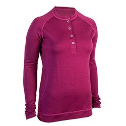 Showers Pass Women's Long Sleeve Bamboo Merino Henley Shirt, Medium, Plum