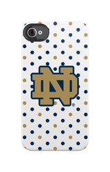 Uncommon LLC C0500-EM Notre Dame Polka Dots Black Bezel Deflector Hard Case for iPhone 4/4S - Carrying Case - Retail Packaging - Blue/Gold/White