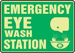 "10""x14""x0.070"" Lumi-Glow ""EMERGENCY EYE WASH STATION"" Safety Sign - Green"