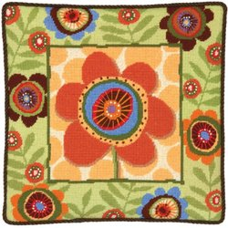 "Funky Flower Needlepoint Kit, 14""X14"" Stitched In Wool & Floss"