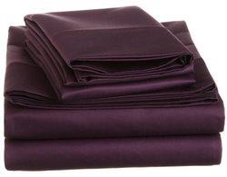 Impressions 1500 Thread Count Cotton Solid Sheet Set - Plum - Size: King