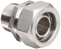 """Polyconn 3/4"""" NPT Male Duratec Nickel Plated Brass Pipe Fitting"""