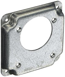 Hubbell-Raco 815C 1/2-Inch Raised Offset Square Cover with (1) 2.16-Inch Diameter Receptacle and Crushed Corner, 4-Inch