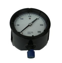 "Ashcroft Duragauge Type 1279 Black Phenolic Case Pressure Gauge, C510 Grade A Phosphor Bronze Tube, Brass Tip, Silver Brazed, Brass Socket, Solid Front Case, 4.5"" Dial Size, 1/2"" NPT Lower Connection, 0/300 psi Pressure Range"