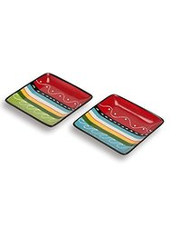 "Abbott Collection 5"" Square Colourful Plates - Multi - Size: Small"