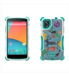 Beyond Cell Tri-Shield Durable Hybrid Hard Shell and Silicone Gel Case for LG Nexus 5 - Retail Packaging - White/Light Blue