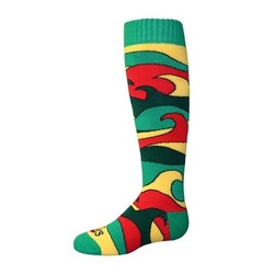 Hot Chillys Youth Surf Fiesta Ski Socks - Surf/Rasta - Size: Medium