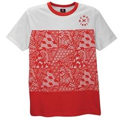 Southpole Men's Red & Black Aztec Print Pocket T-Shirt -Red Multi -Size:XL