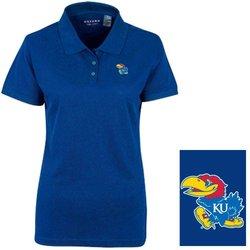 NCAA Kansas Jayhawks Women's Pique  Polo Shirt - Ultramarine - Size: M
