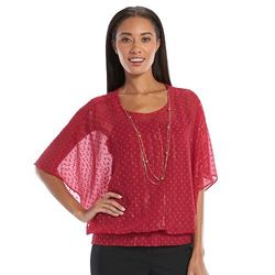 Gloria Vanderbilt Edition Women's Kaylee Poncho Blouse - Ruby - Size: S