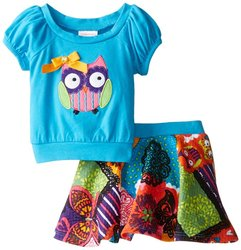 Youngland Girl's 2-Piece Owl Skirt and Top Set - Aqua/Multi - Size:  6X