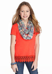 Self Esteem Girls Textured Lace Scarf Top - Coral - Size: Small