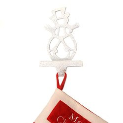 Inside Retail Cut Out Snowman Christmas Stocking Hanger - White/Silver