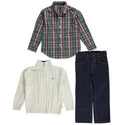 Nautica Little Boys' Cable Cross 3-Piece Outfit - Oatmeal Heather- Size: 7