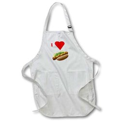 3dRose apr_60644_1 I Love Hot Dogs-Full Length Apron, 22 by 30-Inch, White