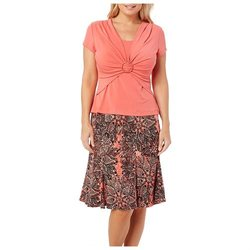 Connected Women's Ring Front Top & Printed Skirt Set - Coral - Size: XL