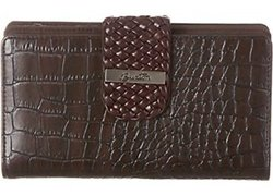 Buxton Women's Croco Braid Organizer Super Wallet - Espresso Brown