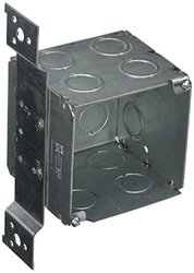 Hubbell-Raco 255 3-1/2-Inch Deep Square Electrical Box, Welded with FM Stud Bracket, (10) Concentric Knockouts, 3-3/4-Inch
