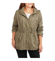 Signature Studio Women's Hooded Anorak Jacket - Green - Size: L