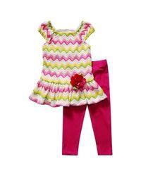 Youngland Girls Chevron Top & Leggings Set- Pink/Green - Size: 4-6X