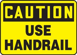"""Accuform Signs MSTF660VA Aluminum Safety Sign, Legend """"CAUTION USE HANDRAIL"""", 10"""" Length x 14"""" Width x 0.040"""" Thickness, Black on Yellow"""