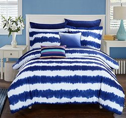 Chic Home 9 Piece Noah Striped Hand Dipped Shibori Tie-Dye Printed Bed In A Bag Comforter Set with Sheet Set & Colorful Pillows, Full, Navy