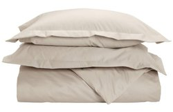Impressions 1500 Count Solid Duvet Cover Set - Stone - Size: Full/Queen