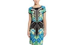 Sandra Darren Women's Printed Sheath Dress - Royal/Teal/Blk - Size: 6