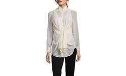 Byron Lars Women's Stretch Twist Front Button Up Shirt - Ivory - Size: 4