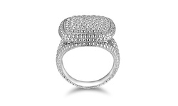 Sevil 18K WG Plated 0.10CTTW Diamond Center Square Ring - Size: 5
