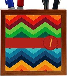 """Rikki Knight Letter """"J"""" Initial on Zig Zag Design 5-Inch Tile Wooden Tile Pen Holder (RK-PH45871)"""